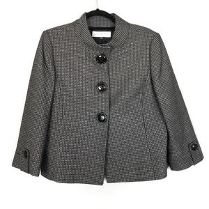 TAHARI Large Button Twill Jacket Blazer